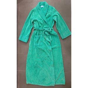 Vintage Crowntuft Green Chenille Floral Bathrobe